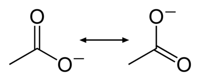 Resonance structures of the acetate anion